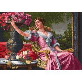 Die Dame im lila Kleid - Zählmuster
