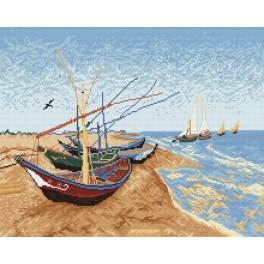 V. van Gogh - Frachtkähne am Strand - Zählmuster