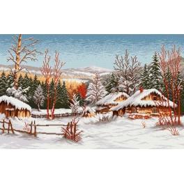 Hütte im Winter - Zählmuster