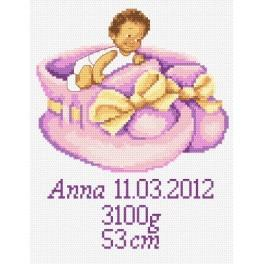 GC 8247 Stickvorlage - Geburtsschein für Mädchen