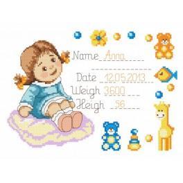 GC 8284 Stickvorlage - Wir heißen Anna auf der Welt wilkommen