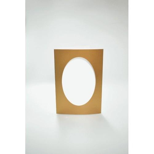 Karten mit ovalem Passepartout golden