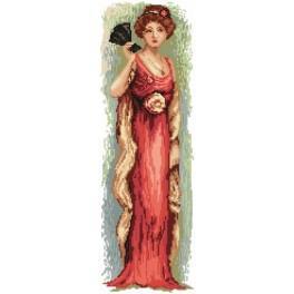 4544 Frau mit Fächer - Gobelin