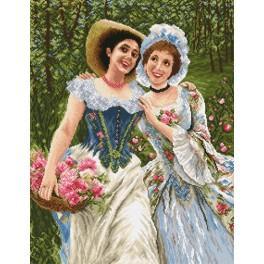 Die Damen im Garten - Zählmuster