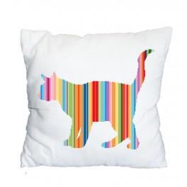 Zahlmuster online - Kissen - Regenbogenfarbene Katze