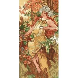 Der Herbst - A. Mucha - Aida mit Aufdruck