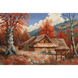 Hütte im Herbst - S. Sikora - Aida mit Aufdruck