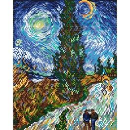 Der Weg mit Zypressen und Stern - V. van Gogh - Aida mit Aufdruck
