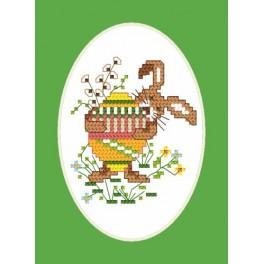Osternkarte - Hasen - Aida mit Aufdruck