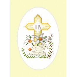 Osternkarte - Lämmchen - Aida mit Aufdruck