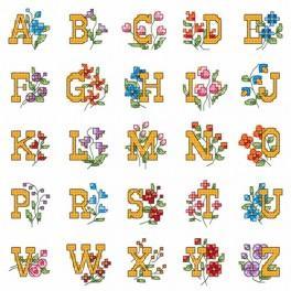 Alphabet mit Blumen - Aida mit Aufdruck