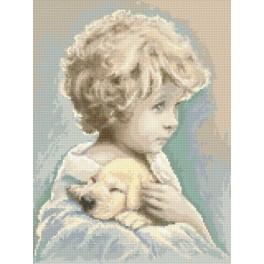 Der kleine Junge mit dem Hund - Aida mit Aufdruck