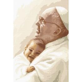 Papst Franziskus mit einem Kind - Aida mit Aufdruck