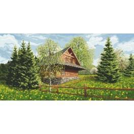 Berghütte - Frühling - Aida mit Aufdruck