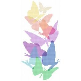 Pastellschmetterlinge - Aida mit Aufdruck