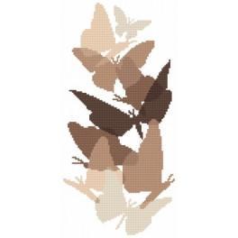 Schmetterlinge in Sepia - Aida mit Aufdruck