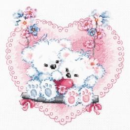 MN 80-06 Stickpackung mit Stickgarn, Perlen und Band - Glückliche Liebe