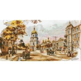 Stickpackung mit Stickgarn und Hintergrund - Altes Kiew