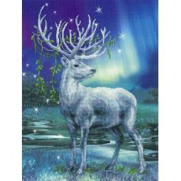Stickpackung mit Stickgarn und Hintergrund - Weißer Hirsch