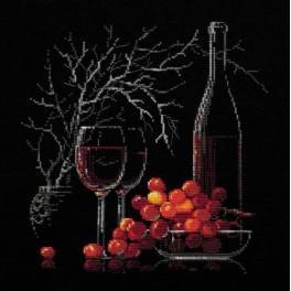 Zestaw z muliną - Martwa natura z czerwonym winem