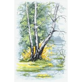 Stickpackung - Birken im Frühling