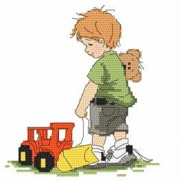 Stickpackung - Junge mit Bagger