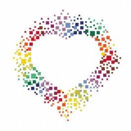 Stickpackung - Buntes Herz
