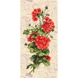 Stickpackung mit Aufdruck, Stickgarn und Hintergrund - Rote Pelargonien