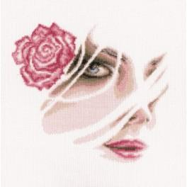 Stickpackung - Korallenrote Rose