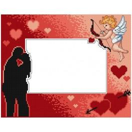 Stickpackung - Rahmen mit Amor zum Valentinstag