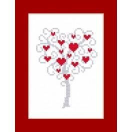 Stickpackung - Karte - Herzenbaum