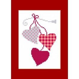 Stickpackung - Karte - Herzen