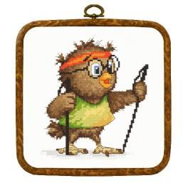 Stickpackung mit Aufdruck und Rahmen - Kleine Eule - Wanderin