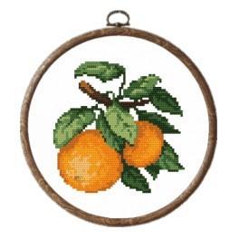 Zestaw nadrukiem, muliną i ramką - Słodkie pomarańcze