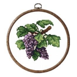 Zestaw nadrukiem, muliną i ramką - Ciemne winogrona