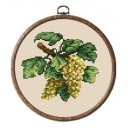 Zestaw nadrukiem, muliną i ramką - Jasne winogrona