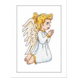 Zestaw nadrukiem, muliną i ramką - Modlący się aniołek