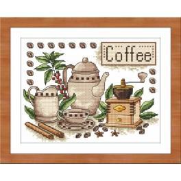 Zestaw nadrukiem, muliną i ramką - Kawa