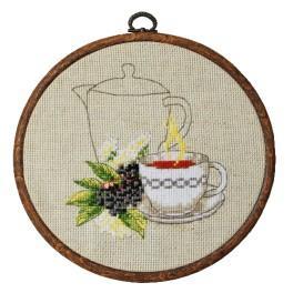 Zestaw nadrukiem, muliną i ramką - Herbatka z bzu