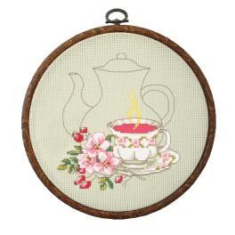 Zestaw nadrukiem, muliną i ramką - Herbatka z róży