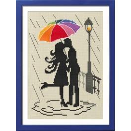 Zestaw nadrukiem, muliną i ramką - Kolorowa parasolka - Zakochani