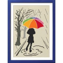 Zestaw nadrukiem, muliną i ramką - Kolorowa parasolka - Spacer