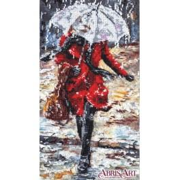 Stickpackungen mit Perlen - Frau im Regen