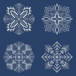 Stickpackungen mit Perlen - Schneeflocken