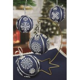 Stickpackungen mit Perlen - Weihnachtskugeln mit Schneeflocken