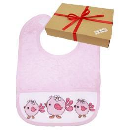 Zestaw prezentowy - Śliniak - różowe ptaszki