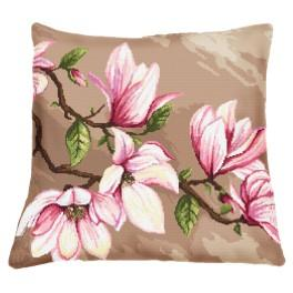 Stickpackung mit Kissenbezug - Kissen mit Magnolien