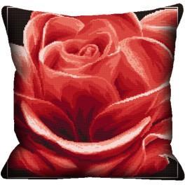 Stickpackung mit Kissenbezug - Kissen - Rote Rose