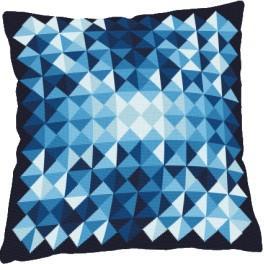 Stickpackung mit Kissenbezug - Kissen - Dreieckige Fantasie blau