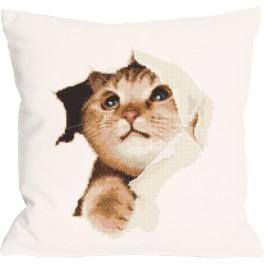 Stickpackung mit Kissenbezug - Kissen - Schelmische Katze